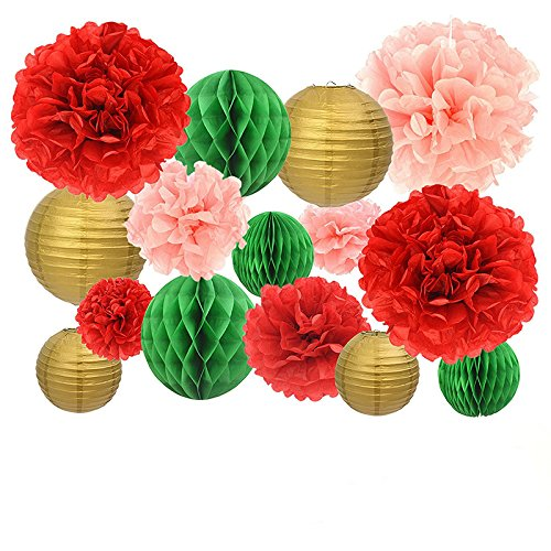 Lovely Biton Ultimate Happy Birthday Decorations Pack Red And Pink Set Of Extra Large Paper Flower Ball Round Paper Lantern Lamps And Green