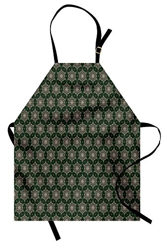 Ambesonne Vintage Apron, Abstract Floral Motifs Mosaic Tile Pattern with Leaf Ornaments Old Fashioned, Unisex Kitchen Bib Apron with Adjustable Neck for Cooking Baking Gardening, Dark Green Beige