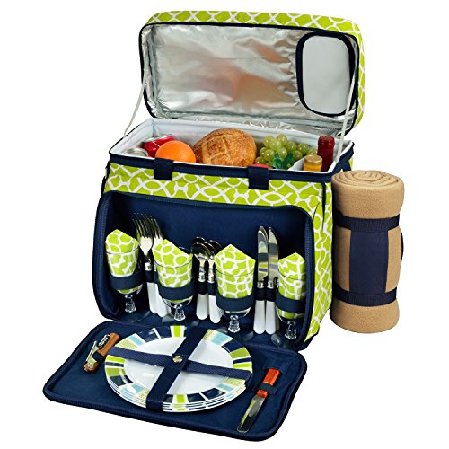 (Picnic at Ascot Equipped Insulated Picnic Cooler With Blanket, Trellis)