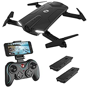 Holy Stone HS160 Shadow FPV RC Drone with 720P HD Wi-Fi Camera Live Video Feed 2.4GHz 6-Axis Gyro Quadcopter for Kids & Beginners – Altitude Hold, One Key Start, Foldable Arms,Bonus Battery