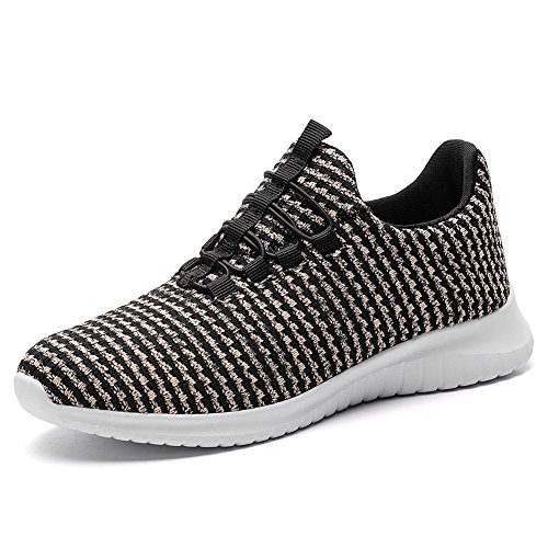 TIOSEBON Women's Lightweight Casual Walking Athletic Shoes Breathable Flyknit Running Slip-On Sneakers 9 US Black/Pink