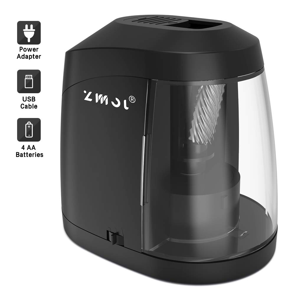 Electric Pencil Sharpener, Heavy duty Helical Blade to Fast Sharpen, Auto Stop for No.2/Colored Pencils(6-8mm), USB/Battery Operated in School Classroom/Office/Home(USB Cable Include) by Zmol