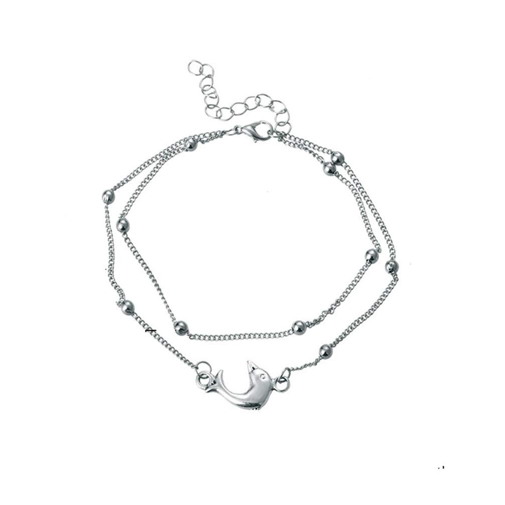Myhouse Beaded Chain Dolphin Pendant Anklet Foot Chain Sandal Beach Barefoot Anklet for Women Girls, Silver Color