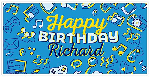 Video Game Icons Birthday Banner Personalized Party Decoration Backdrop