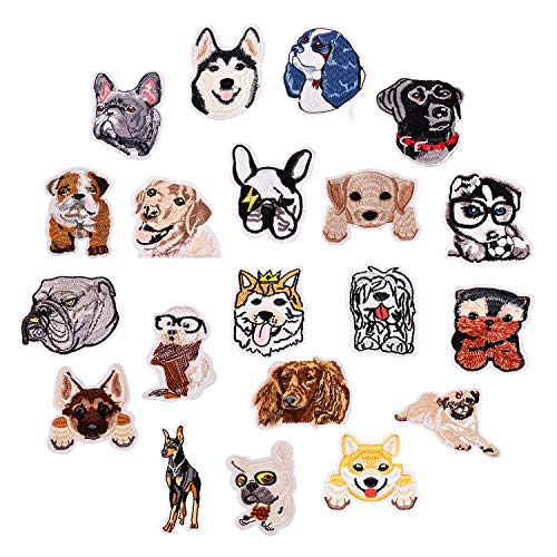 Ancefine 20 Pieces Iron On Dog Patches Embroidered Applique for Clothing Backpacks - Patterns Dog Applique