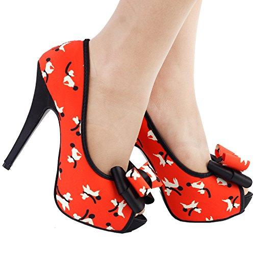 Mostrar historia perrito lindo patrón arco Peeptoe plataforma Stiletto zapatos de la bomba, LF30475 Naranja