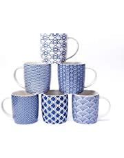 MACHUMA Set of 6 11.5 oz Coffee Mugs with Blue and White Geometric Patterns, Ceramic Tea Cup Set
