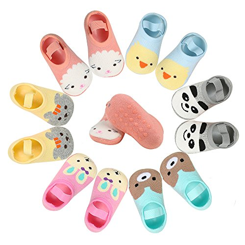 Dicry 6 Pairs Baby Girl Non Skid Slip Mary Jane Socks No Show Ankle 12-24 Months Infant Toddler