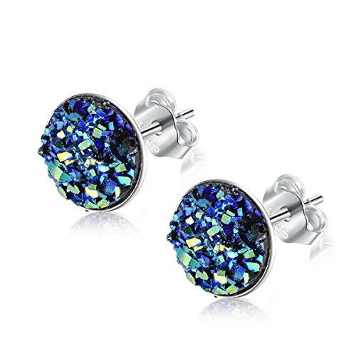 - EVERU Sterling Silver Round Druzy Stud Earrings, 8 Colors Options, 8mm (Blue)