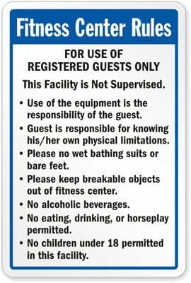 Fitness center rules sign 24 x 18 industrial warning signs industrial scientific for Swimming pool health and safety rules