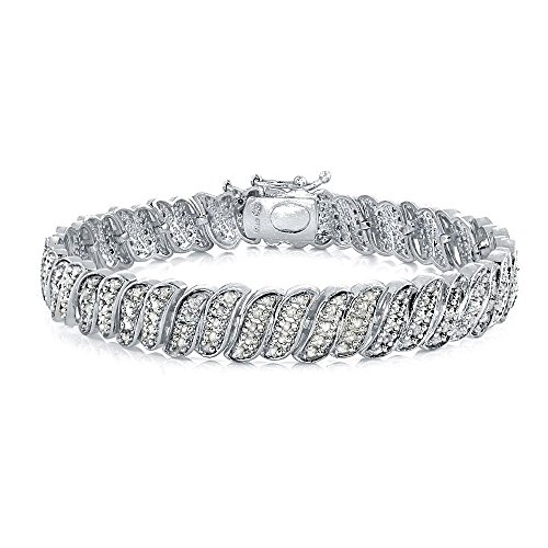 1.00ct White Gold Finish Diamond Genuine Diamond Wave S-Link Tennis Bracelet in Brass - 8 Inches (Gold Bracelet White Wave)