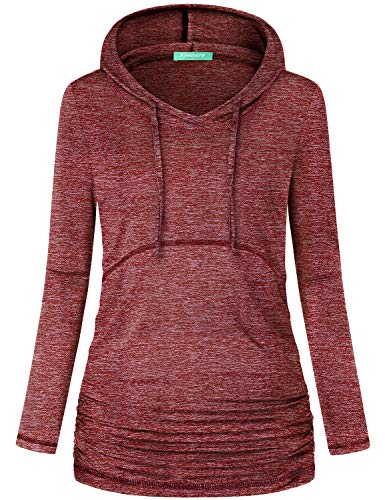 Kimmery Hoody Tops for Women,Woman Hoodies Exercise Top Solid Printed Scoop Neck Attractive Sweatshirt Long Sleeve Autumn Fancy Pullover for Jogging Walking Yoga Class Gym Red XL