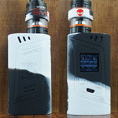 ModShield for Smok Alien 220W TC Silicone Case & TANK BAND ByJojo Skin Cover Sleeve Wrap Shield (White/Black)