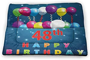 Nomorer Dog Mat 40th Birthday Housebreaking Absorption Pads Vintage Style Graphic Banner Party Invitation Theme Optical Striped Design Multicolor