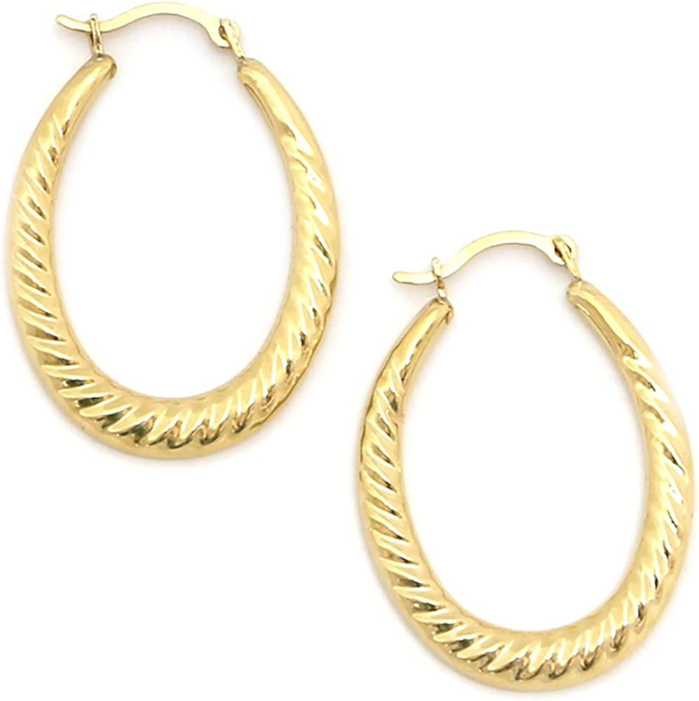 10k Yellow Gold Twisted Cable Oval Hoop Earrings Precious Metal