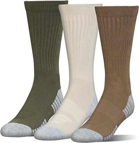 Under Armour Men's Heatgear Tech Crew Socks, Coyote Brown Assortment, Large (3 Pair Pack)