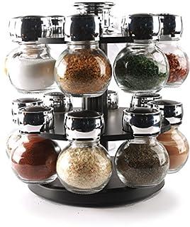 Circleware 66501 Contempo 16 Glass Jar Revolving Countertop Carousel Spice Salt and Pepper Shaker Rack Organizer, Set of 16, Clear 16pc Plus Holder (B077XJFJ79) | Amazon price tracker / tracking, Amazon price history charts, Amazon price watches, Amazon price drop alerts