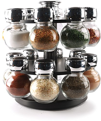 Circleware 66501 Contempo 16 Glass Jar Revolving Countertop Carousel Spice Salt and Pepper Shaker Rack Organizer, Set of 16, Clear 16pc Plus Holder ()