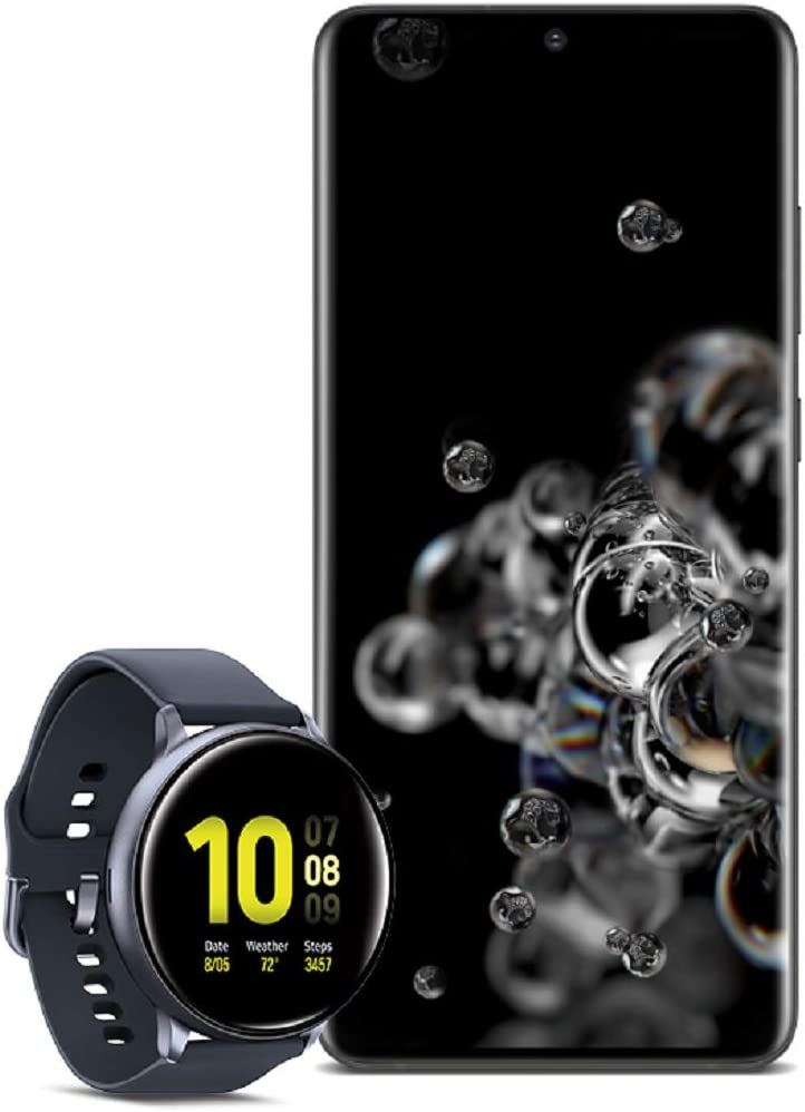 Samsung Galaxy S20 Ultra 5G Factory Unlocked New Android Cell Phone US Version 128GB of Storage, Black with Watch Active2 (44mm, GPS, Bluetooth), Aqua Black