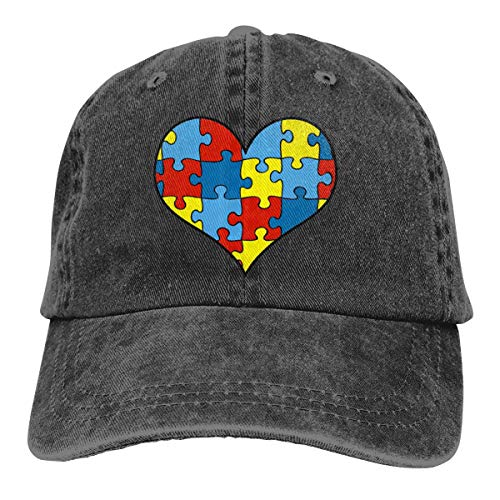 NVJUI JUFOPL Autism Awareness Heart Vintage Washed Dyed Cotton Twill Low Profile Adjustable Baseball Cap