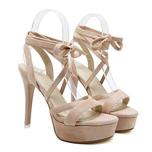 RUGAI-UE Damen Sandalen einzelne Schuhe Schuhe Schuhe europäische und amerikanische Mode Wildleder Zehen und Damenschuhe. afd7e1