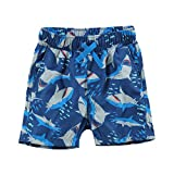 LACOFIA Kids Swim Shorts Boys Casual Boardshorts Children Elasticated Waist Beach Swimming Trunks Navyblue Shark 7-8 Years
