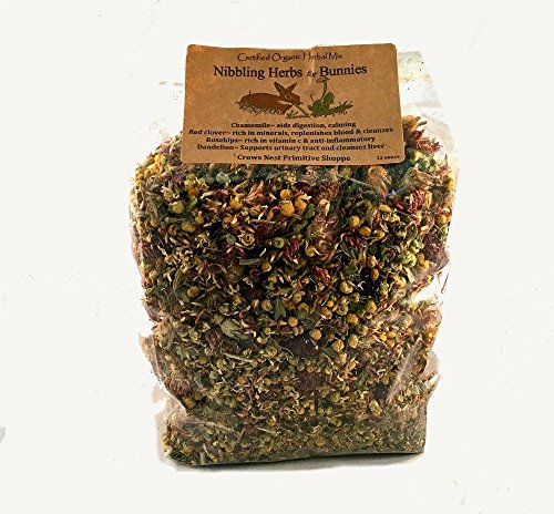 12 ounce packaged- Certified Organic Nibbling Herbal Mixture for Bunny Rabbits that is healthy and they love! Offering FREE Shipping standard continental US states for a limited time!