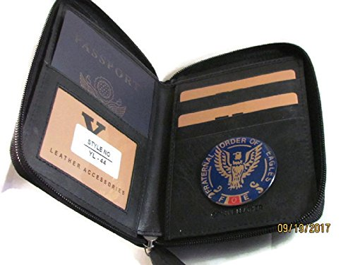 FOE FRATERNAL ORDER OF EAGLES BIFOLD BLACK PASSPORT WALLET YL44 …