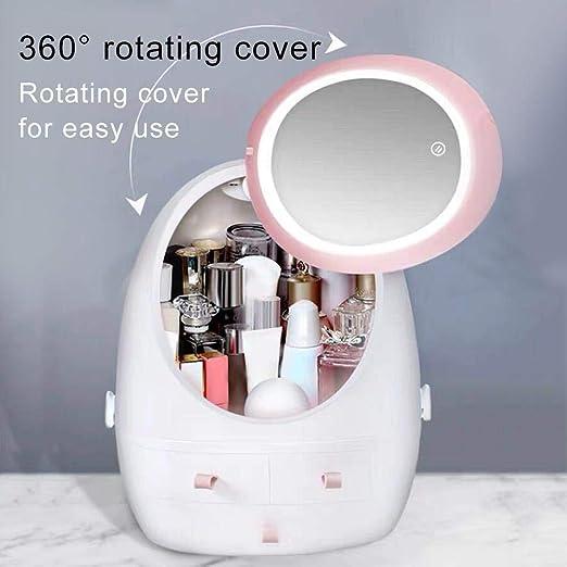 Caja de almacenamiento para cosm/éticos productos para el cuidado de la piel Frazazy organizador para maquillaje con luces LED de espejo