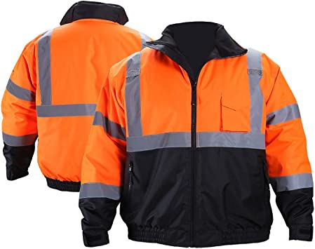 FONIRRA Hi-Viz Safety Jacket for Men with Reflective Liner,Waterproof 100/% Polyester ANSI Class 3 Full Zipper Bomber Work Jacket Hoodie