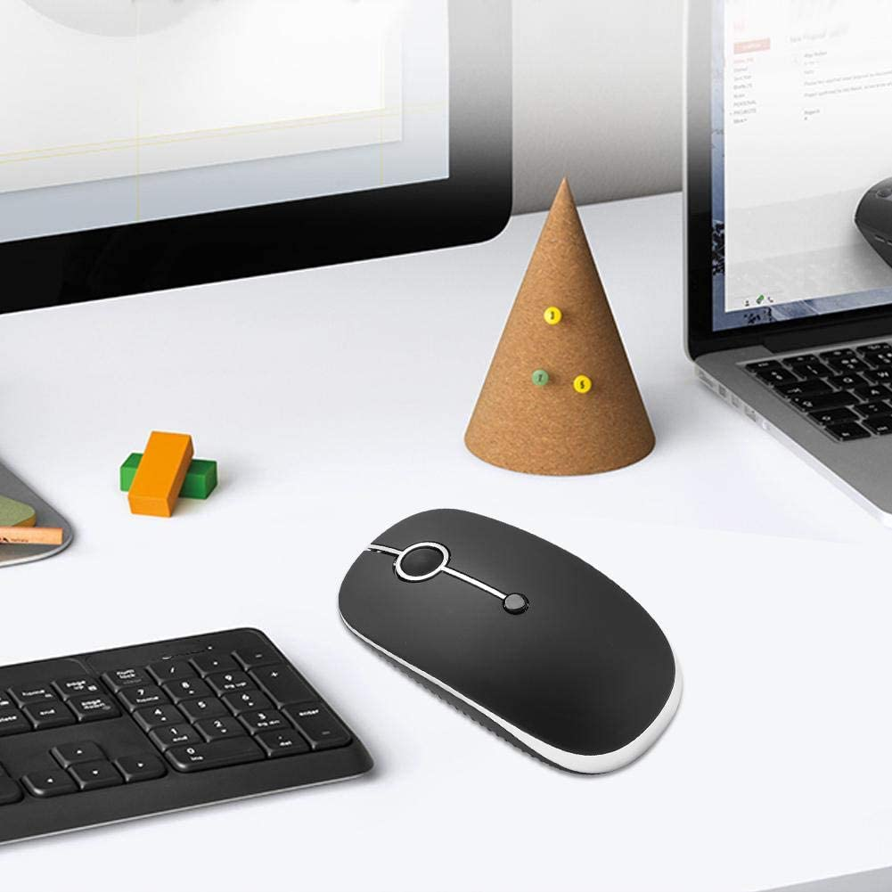 ASHATA Bluetooth Mouse,Wireless Bluetooth Mouse I331d Black 2.4hz Bluetooth Mute Comfortable Ergonomical Mouse for 3-Device Connection,Ergonomical Wireless Mouse Intelligent Mouse for a Long Time.