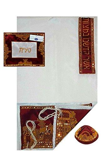 Jerusalem Tallit Prayer Shawl Set Premium Quality Embroidered Maroon & Gold Talit With Matching Bag, Kippah 78