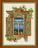 "RIOLIS 1732 - Window with Apples - Cross Stitch Kit 11¾"" x 15¾"""
