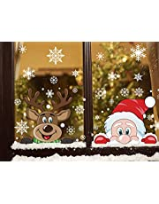 FINGOOO 289 pieces Peeping Santa and Rudolph- Christmas Window Cling Snowflake Decal Window Decoration, 6 Sheet
