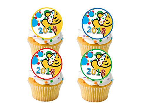 24 x BBC Children in Need Pudsey Bear Spots Bake Off Cake Sale STAND UP STANDUP Fairy Muffin Cup Cake Toppers Decoration Edible Rice Wafer Paper Harold's Bakeware