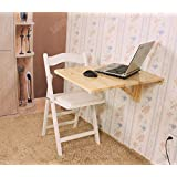 SoBuy Wall-mounted Drop-leaf Table, Folding Kitchen & Dining Table Desk, Solid Wood Children Table, 70cm(27.5in)×45cm(17.7in), FWT04-N(NATURAL)