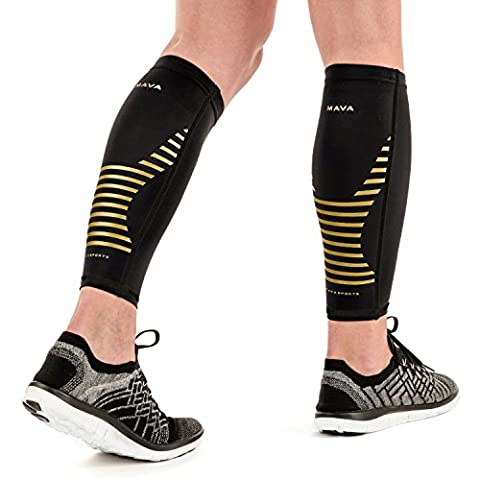 Mava Sports Calf Sleeves Compression (Pair), Leg Compression Calf Sleeve for Runners, for Men & Women, Unisex (Gold, - Over Calf Support