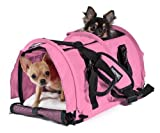 Sturdibag Large Divided Pet Travel Carrier Carry 2 Pets in 1 Carrier, Airline,aaa Approved Pet Travel Carrier Tote, Size Large 18″l X 12″w X 12″h (Prior to Flexing Down) (Soft Pink) For Sale