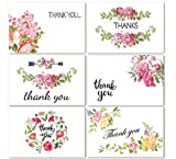 Thank You Cards, Top Honor 48 Pack Floral Flower Greeting Cards, Blank Inside 4 x 6 inch with White Envelopes Included, 6 Design Thank You Notes for Wedding, Baby Shower, Bridal, Business, Anniversary