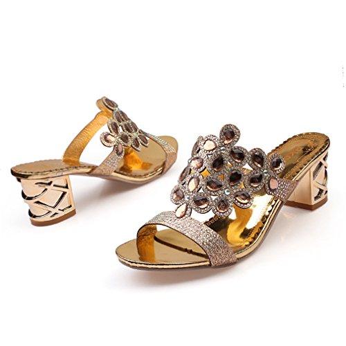 de Diamantes Playa de dorado Zapatos para con GenePeg de Grandes Fiesta Mujer Imitación Gold Sexy 04 Tacón Sandalias 5cqzwY7U