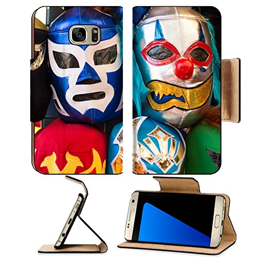 [MSD Premium Samsung Galaxy S7 Edge Flip Pu Leather Wallet Case Arrangement of various colored luchador masks as a background Image ID] (Discount Christmas Costumes)
