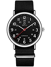 Unisex Noctilucent Watch Men Quartz Watch NATO Nylon Strap Band Women Wristwatch Luminous Dial Wrist Watch (Black...