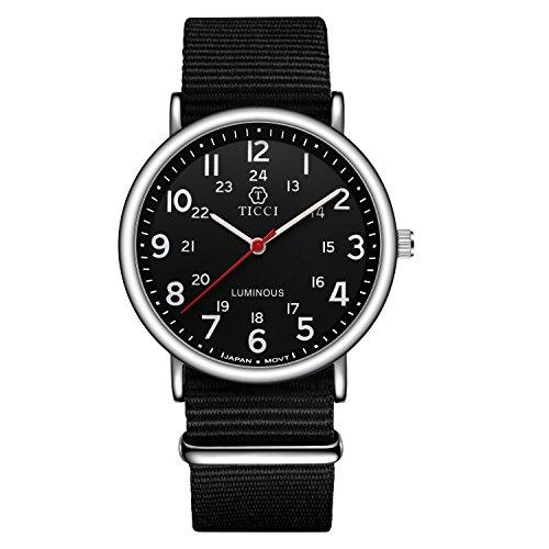 Unisex Noctilucent Watch Men Quartz Watch NATO Nylon Strap Band Women Wristwatch Luminous Dial Wrist Watch (Black (Dial Black Nylon Strap Watch)