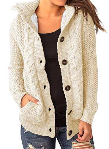 Sidefeel Women Hooded Sweater Cardigans Button Up Cable Outwear Coat Small Beige