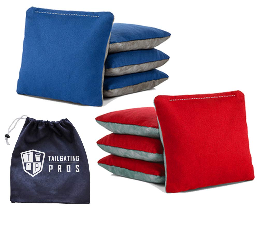 Tailgating Pros Pro-Style Two-Sided Cornhole Bags Red Royal Blue w/Grey Suede & Bag Tote - Slick & Stick - All Weather - Set of 8