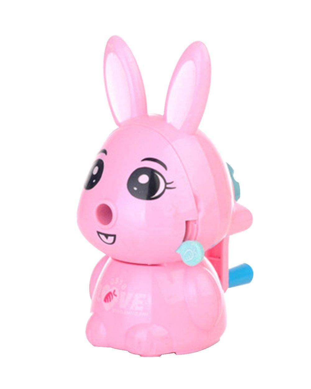 Portable Manual Desktop Stationery-Rabbit Funny Cartoon Animal Hand Crank Pencil Sharpener for Kids