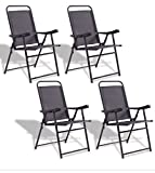 SKB Family Set of 4 Folding Sling Chairs with Armrest 4 pcs folding chair set foldable design Powder coated iron frame