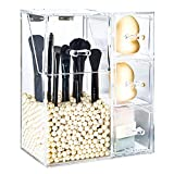 Vivi&Stitch-Make up Brush Holder, Premium Clear Acrylic Makeup Organizer With Lid & 3 Drawers, Large Capacity Dustproof Acrylic Makeup Brush Holder with Pearls