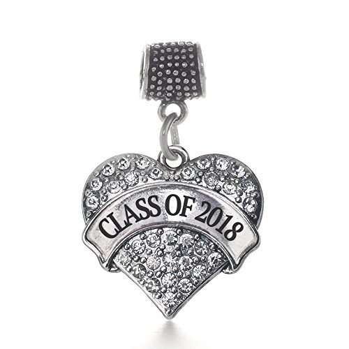 Inspired Silver - Class of 2018 Memory Charm for Women - Silver Pave Heart Charm for Bracelet with Cubic Zirconia -
