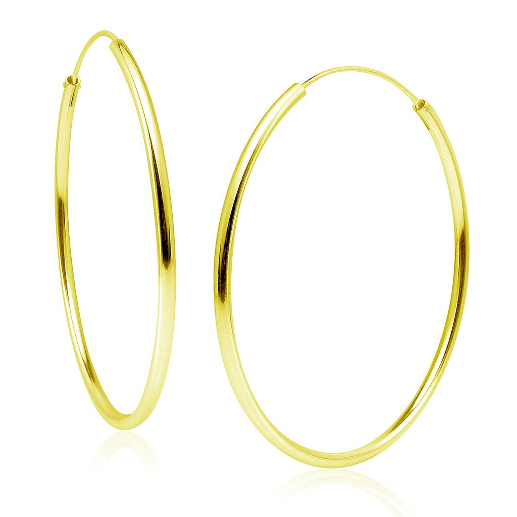 67ae1fe6d75 Sterling Silver 2mm x 50mm Endless Hoop Earrings Round Lightweight Unisex,  All Sizes Yellow Gold Flashed Finish